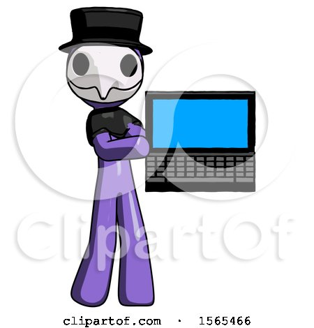 Purple Plague Doctor Man Holding Laptop Computer Presenting Something on Screen by Leo Blanchette