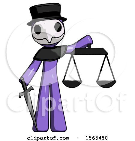 Purple Plague Doctor Man Justice Concept with Scales and Sword, Justicia Derived by Leo Blanchette