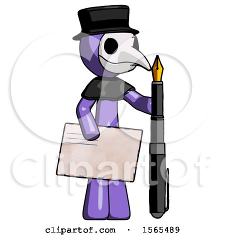Purple Plague Doctor Man Holding Large Envelope and Calligraphy Pen by Leo Blanchette