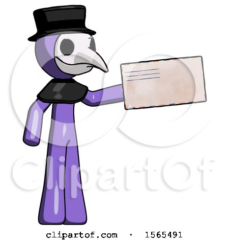 Purple Plague Doctor Man Holding Large Envelope by Leo Blanchette