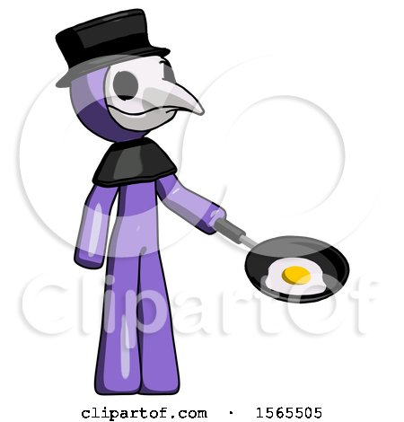 Purple Plague Doctor Man Frying Egg in Pan or Wok Facing Right by Leo Blanchette