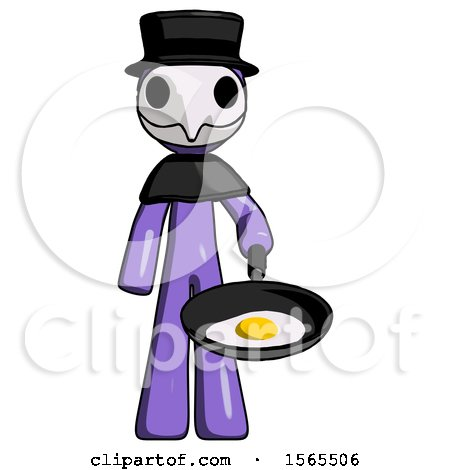 Purple Plague Doctor Man Frying Egg in Pan or Wok by Leo Blanchette