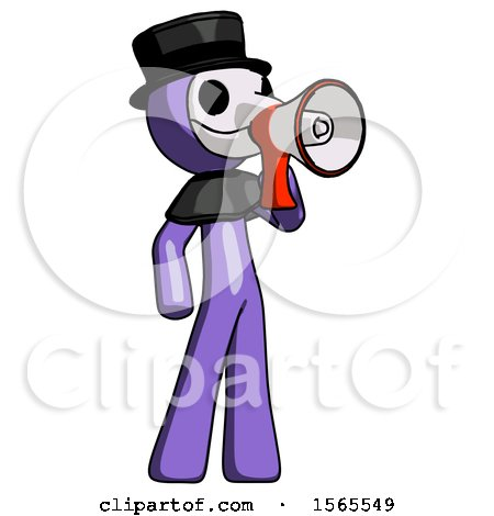 Purple Plague Doctor Man Shouting into Megaphone Bullhorn Facing Right by Leo Blanchette