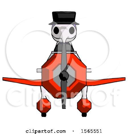 Purple Plague Doctor Man in Geebee Stunt Plane Front View by Leo Blanchette