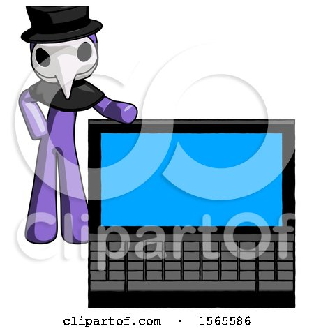 Purple Plague Doctor Man Beside Large Laptop Computer, Leaning Against It by Leo Blanchette