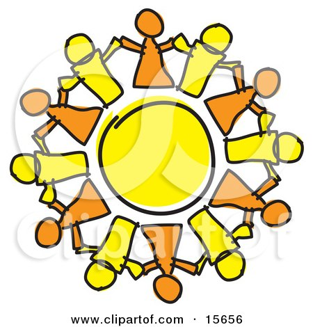 Circle Of Orange And Yellow People Holding Hands, Symbolizing Teamwork And Support Clipart Illustration by Andy Nortnik