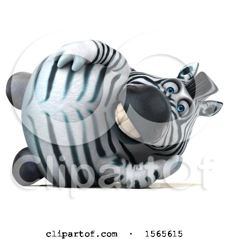 Clipart of a 3d Zebra Resting, on a White Background - Royalty Free Illustration by Julos