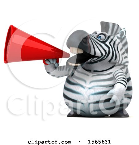 Clipart of a 3d Zebra Using a Megaphone, on a White Background - Royalty Free Illustration by Julos