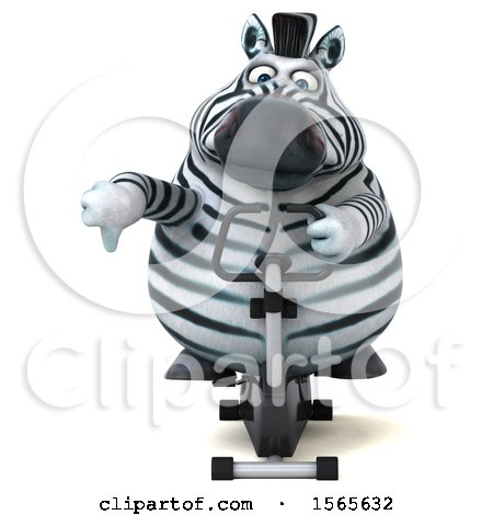 Clipart of a 3d Zebra Exercising on a Spin Bike, on a White Background - Royalty Free Illustration by Julos