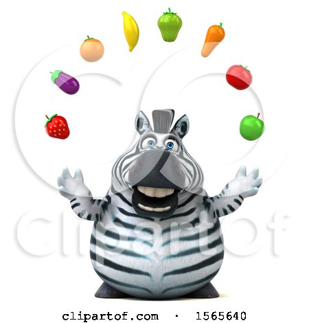 Clipart of a 3d Zebra Juggling Produce, on a White Background - Royalty Free Illustration by Julos