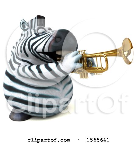 Clipart of a 3d Zebra Playing a Trumpet, on a White Background - Royalty Free Illustration by Julos