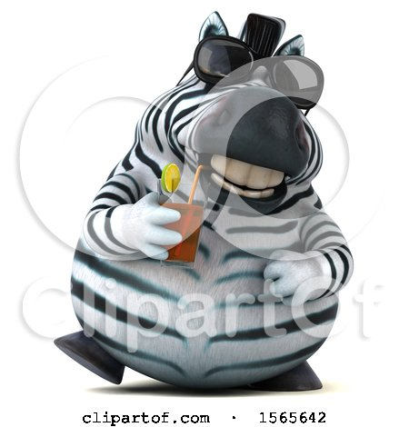 Clipart of a 3d Zebra Drinking a Beverage, on a White Background - Royalty Free Illustration by Julos
