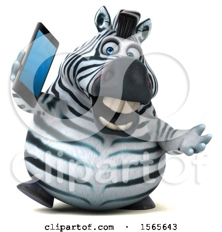 Clipart of a 3d Zebra Holding a Smart Phone, on a White Background - Royalty Free Illustration by Julos