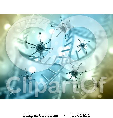 Clipart of a 3d Background of Dna Strands and Virus Cells - Royalty Free Illustration by KJ Pargeter