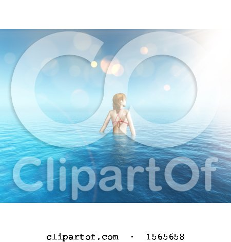 Clipart of a 3d Woman Wading in the Ocean - Royalty Free Illustration by KJ Pargeter