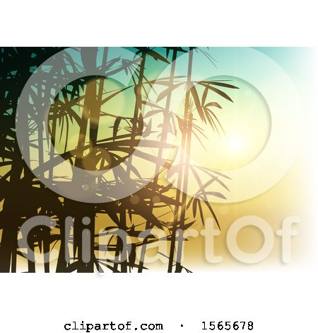 Clipart of a Bamboo Sunset Background - Royalty Free Vector Illustration by KJ Pargeter