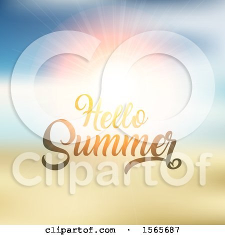 Clipart of a Hello Summer Design Against a Sunset - Royalty Free Vector Illustration by KJ Pargeter