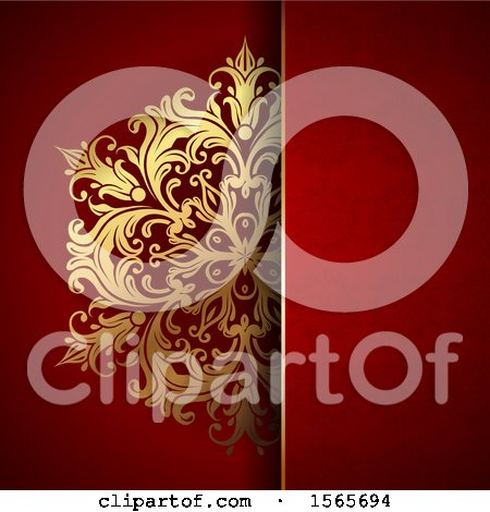 Clipart of a Gold Floral Design on Red - Royalty Free Vector Illustration by KJ Pargeter
