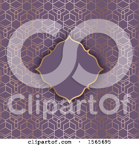 Clipart of a Blank Frame on a Gold and Purple Geometric Pattern - Royalty Free Vector Illustration by KJ Pargeter