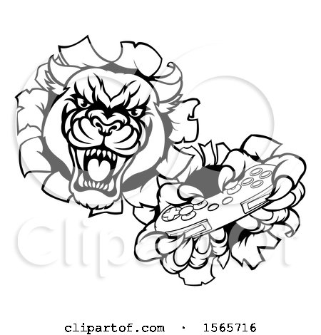 Clipart of a Black and White Panther Breaking Through a Wall with a Video Game Controller - Royalty Free Vector Illustration by AtStockIllustration