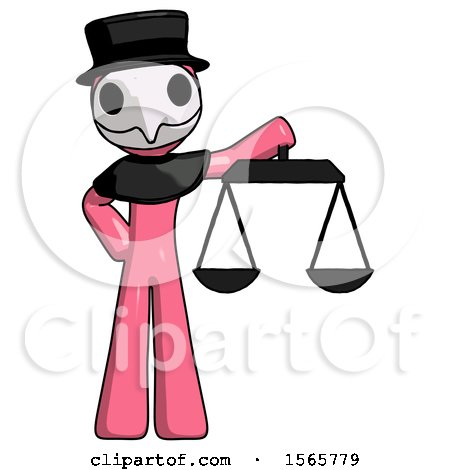 Pink Plague Doctor Man Holding Scales of Justice by Leo Blanchette