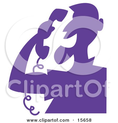 Silhouetted Man Screaming At A Telemarketer Over The Phone Clipart Illustration by Andy Nortnik