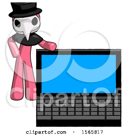 Pink Plague Doctor Man Beside Large Laptop Computer, Leaning Against It by Leo Blanchette