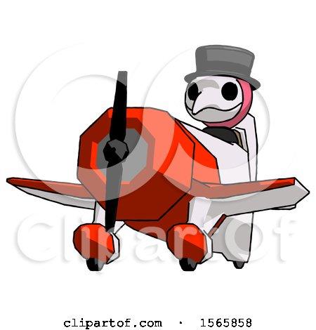 Pink Plague Doctor Man Flying in Geebee Stunt Plane Viewed from Below by Leo Blanchette