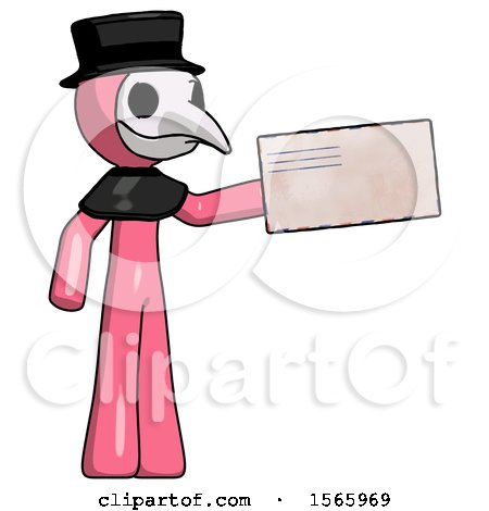 Pink Plague Doctor Man Holding Large Envelope by Leo Blanchette