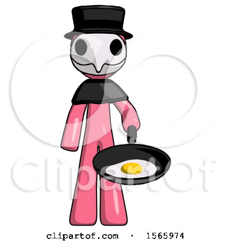 Pink Plague Doctor Man Frying Egg in Pan or Wok by Leo Blanchette