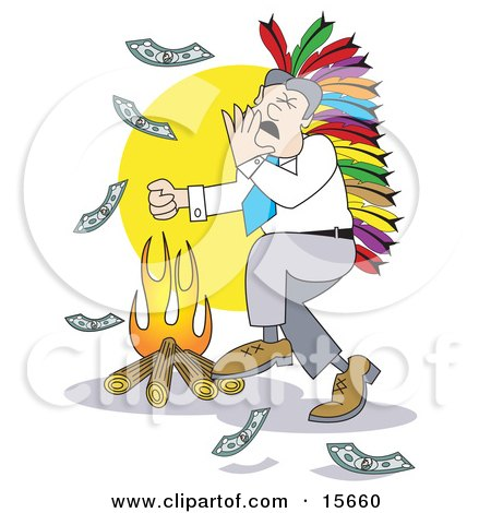 Happy Businessman Wearing A Native American Feathered Headdress And Singing And Dancing Around A Fire While Burning Money Posters, Art Prints