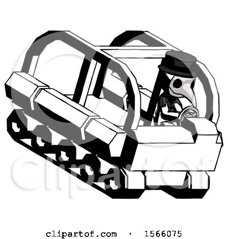 Ink Plague Doctor Man Driving Amphibious Tracked Vehicle Top Angle View by Leo Blanchette
