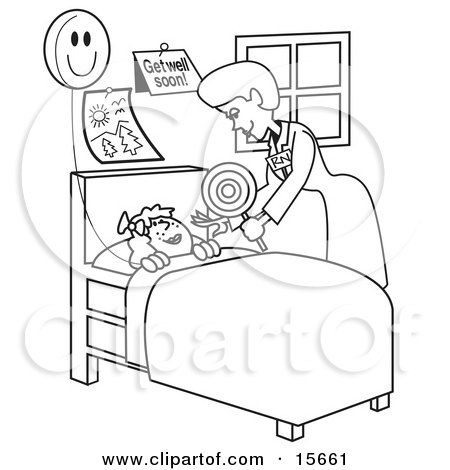 Coloring Book Page Of A Friendly Registered Nurse Bending Over A Sick Girl In A Hospital Bed, Handing Her A Balloon Clipart Illustration by Andy Nortnik