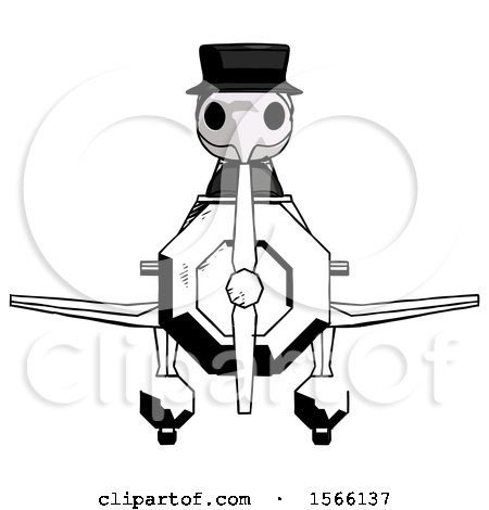 Ink Plague Doctor Man in Geebee Stunt Plane Front View by Leo Blanchette