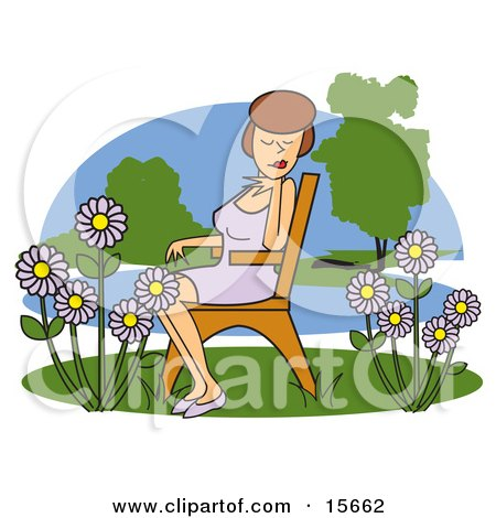 Pretty Brunette Woman Seated On A Wooden Park Bench And Enjoying The Beautiful Purple Daisy Flowers Posters, Art Prints