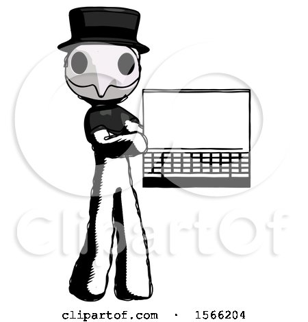 Ink Plague Doctor Man Holding Laptop Computer Presenting Something on Screen by Leo Blanchette