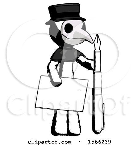 Ink Plague Doctor Man Holding Large Envelope and Calligraphy Pen by Leo Blanchette