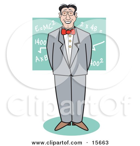 Nerdy Man Standing In Front Of Mathetmatical Equations On A Chalkboard Clipart Illustration