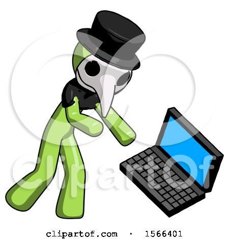 Green Plague Doctor Man Throwing Laptop Computer in Frustration by Leo Blanchette