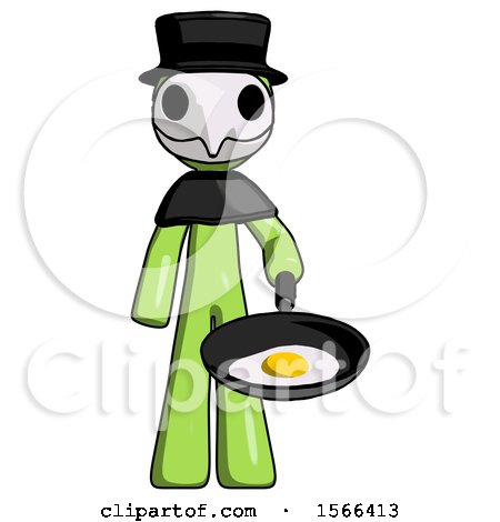 Green Plague Doctor Man Frying Egg in Pan or Wok by Leo Blanchette