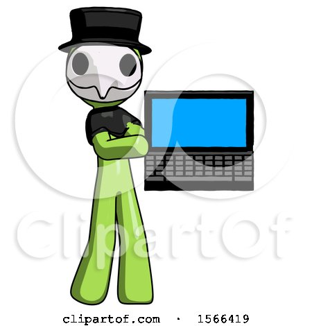 Green Plague Doctor Man Holding Laptop Computer Presenting Something on Screen by Leo Blanchette