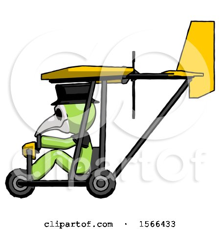 Green Plague Doctor Man in Ultralight Aircraft Side View by Leo Blanchette
