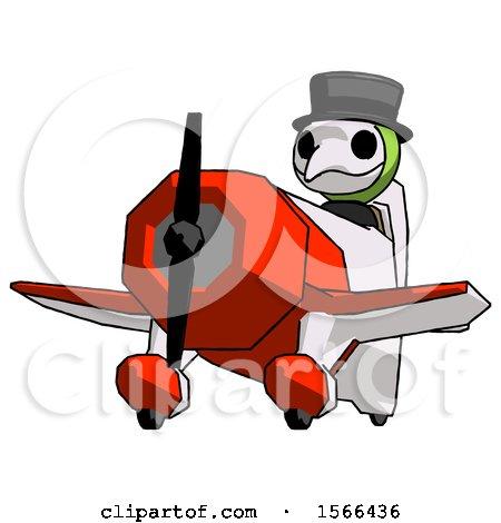 Green Plague Doctor Man Flying in Geebee Stunt Plane Viewed from Below by Leo Blanchette