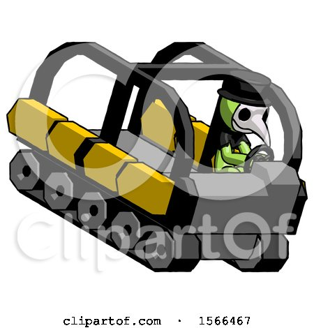 Green Plague Doctor Man Driving Amphibious Tracked Vehicle Top Angle View by Leo Blanchette