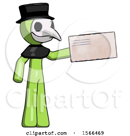Green Plague Doctor Man Holding Large Envelope by Leo Blanchette
