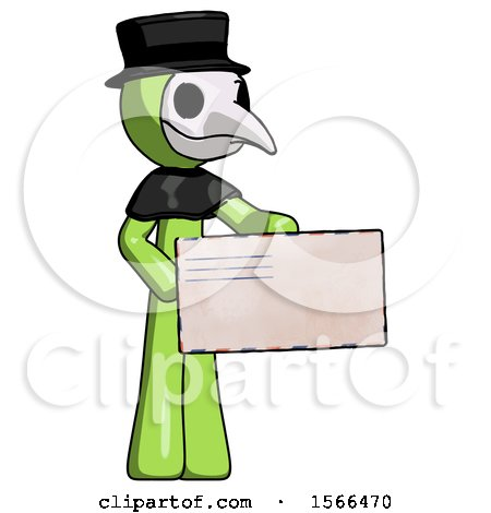 Green Plague Doctor Man Presenting Large Envelope by Leo Blanchette