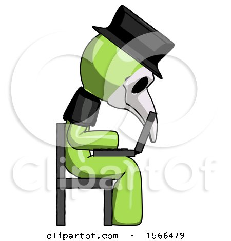 Green Plague Doctor Man Using Laptop Computer While Sitting in Chair View from Side by Leo Blanchette