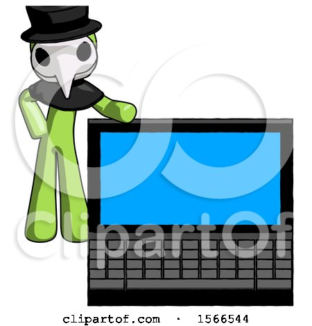 Green Plague Doctor Man Beside Large Laptop Computer, Leaning Against It by Leo Blanchette