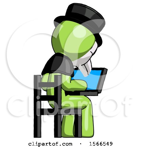 Green Plague Doctor Man Using Laptop Computer While Sitting in Chair View from Back by Leo Blanchette