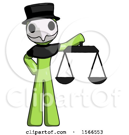 Green Plague Doctor Man Holding Scales of Justice by Leo Blanchette
